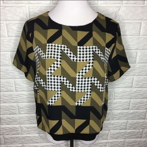 TOPSHOP Geo Houndstooth Print Blouse Size 10